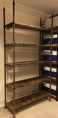 Antique 19th C. French Iron Baker's Rack w/ 5 Removable/Adjustable Wood Shelves