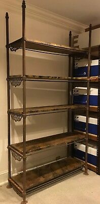 Local Pickup Antique 19thC French Iron Baker's Rack w/ 5 Removable Wood Shelves