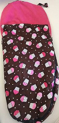 Bugaboo Stroller Cocoon Footmuff Cupcake Brown Pink Fleece Lined