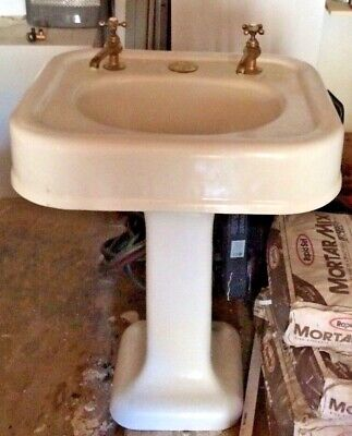 Local Pickup Vintage Cast Iron White Porcelain Pedestal Sink Brass Hardware