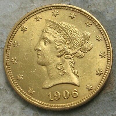 1906-D $10 Liberty Gold Coin.. Gem Bu