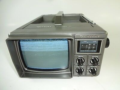 """Vintage Bentley Deluxe Portable 5"""" Black & White Television Battery Power B&W TV"""