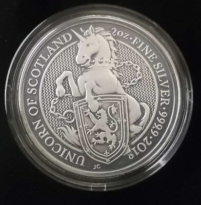 2018 UNICORN QUEEN BEASTS Antique Finish 2 Oz Silver 5£ United Kingdom COA #91