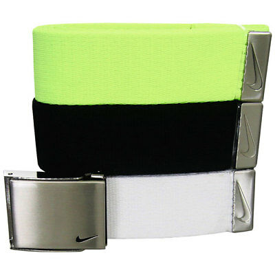 """Nike Golf Men's Web Belt 3 In 1 Pack Black/white/yellow Fits Up To 42"""" New 17926"""