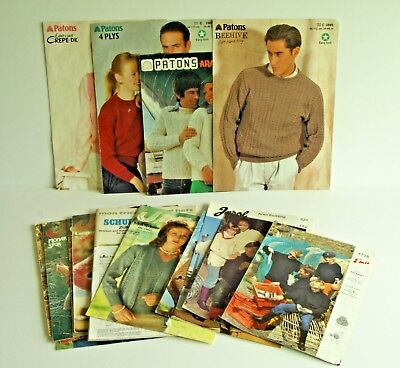 Bulk lot 22 vintage knitting & crochet patterns 1970s Patons Jaeger Sirdar Emu