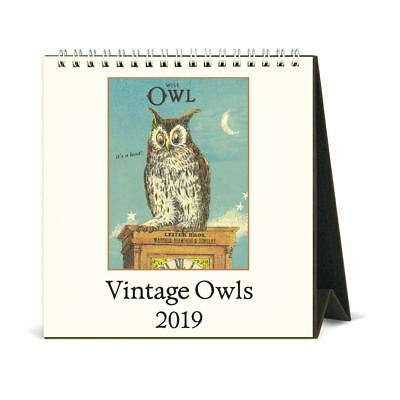 Cavallini Papers & Co., Inc. 2019 Vintage Owls Desk Calendar, Multicolour