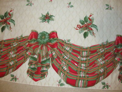 Vintage Handmade ? Christmas Banquet Tablecloth Cream W Red & Green Banner  #205
