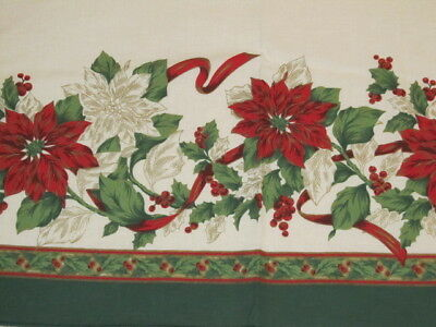 Vintage Christmas Tablecloth Fashion Industries Red Green Gold 70x51 #207