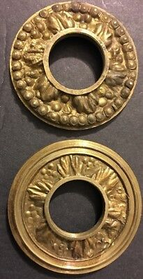 ANTIQUE PAIR Different Nature CAST BRASS VICTORIAN EASTLAKE KNOB PLATES ORNATE