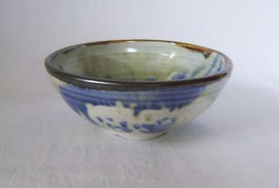 Alan Ward Porcelain Bowl : Blue & White with  Brown Rim, Signed Studio Pottery