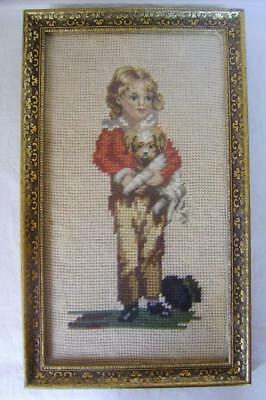 Vintage Embroidery Picture in Frame; Victorian Boy with Dog