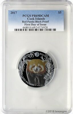 2017 $5 Cook Islands Red Panda .999 Silver Black Proof Coin PCGSPR69DCAM FD