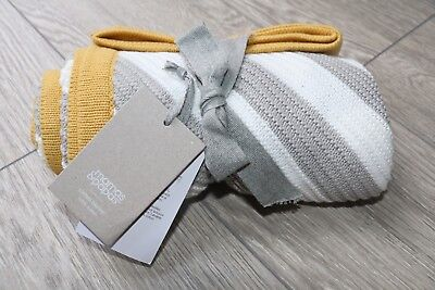 New With Tags Mamas And Papas Diagonal Knitted Blanket Grey Mustard White Rrp36