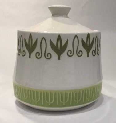 Vintage Mayan Iron Stone Lidded Sugar Bowl Japan White Green