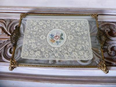 Vintage Glass Embroidered Petit Point On Lace Filigree Gilt Dressing Table Tray