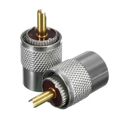 2Pcs Metal UHF PL-259 Male Solder RF Connector Plug For RG8 Coaxial