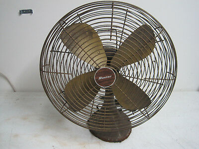 Vintage Hunter and Robbins & Myers Inc.3 speed Oscillating Metal Fan model 11072
