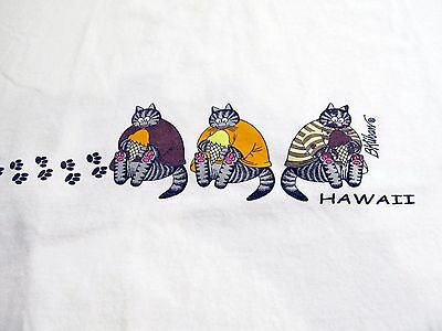 VINTAGE 1980's KLIBAN CAT EATING ICE CREAM CONES T-SHIRT - Size XL / EXTRA LARGE