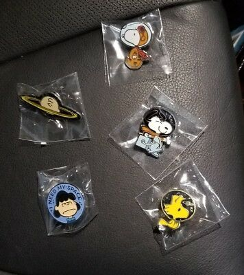 SDCC Peanuts Astronaut Enamel Pin Set Of 5 Snoopy Lucy Charlie Brown Woodstock