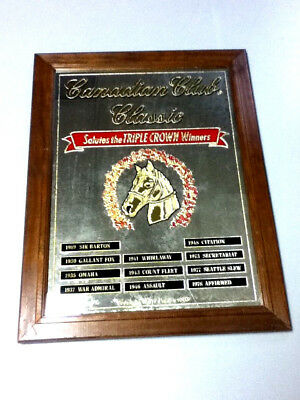 Canadian Club whiskey whisky vintage bar sign mirror triple crown winners horses