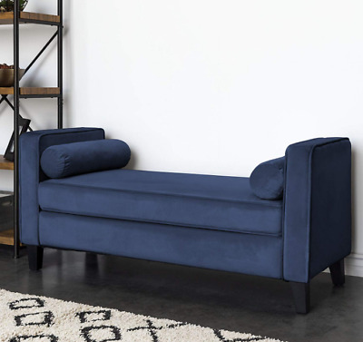 LARGE BLUE VELVET Ottoman Bench with Arms Bedroom Lounge Vanity Stool  Entryway