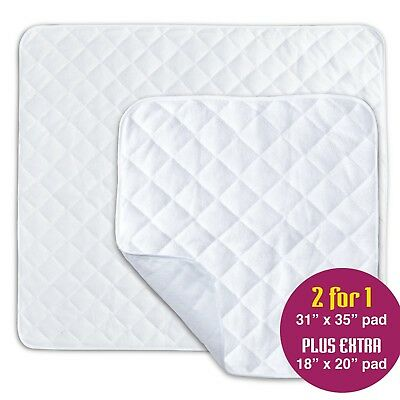 "2 Pack Waterproof Bed Wetting Pad, Mattress + Chair Protector, 31""x35"" + 18""x20"""