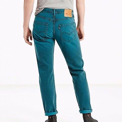 57eb049e Levis Mens 501 CT Jeans Custom Tapered Leg Button Fly Aqua Blue New With  Tags