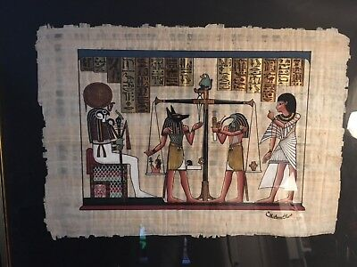 Hand Painted Egyptian Art On Papyrus Framed