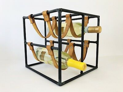 Arthur Umanoff Iron and Leather Wine Rack Holds 4 Bottles Mid Century