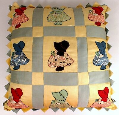 RARE Antique Vtg 20s 30s Sunbonnet Sue Quilted Quilt Display Throw Pillow Yellow