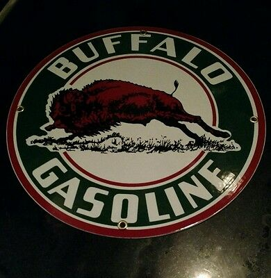 """BUFFALO GASOLINE Oil Gas Round Porcelain Advertising sign....~12"""""""