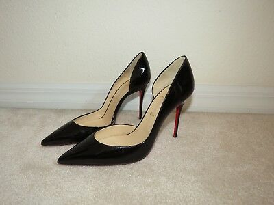 6a67d808285 CHRISTIAN LOUBOUTIN IRIZA 120Mm Black Patent Leather Pumps Heels 40.5 10.5  New!