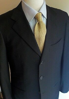 BESPOKE BORRELLI Napoli Canvassed Wool Blazer Black US:40R  ITALY