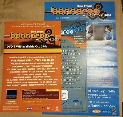 Bonnaroo 2002 & 03 Promo Poster Lot widespread trey dead ween phil les cheese