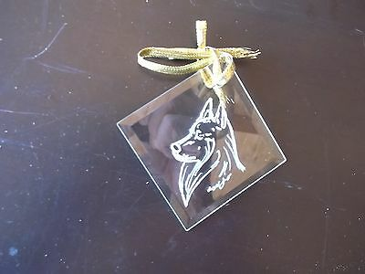 Belgian Sheepdog- Hand engraved facetted ornament by Ingrid Jonsson