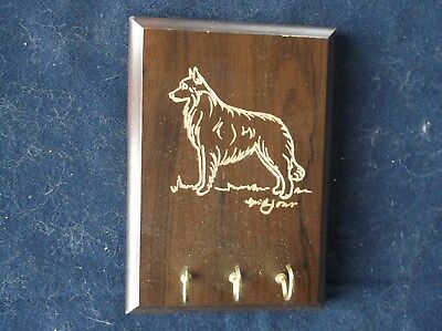 Belgian Sheepdog-  Hand engraved Wood Key Rack by Ingrid Jonsson