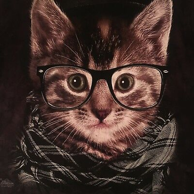 fun MOUNTAIN t shirt--HIPSTER CAT glasses scarf--NWOT NEW--(L) but big enuf XL