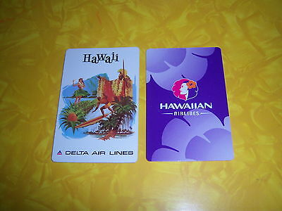 (2) single HAWAII AVIATION playing cards--delta AIRLINES hawaiian--MINT