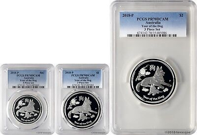 2018-P Australia Year of the Dog 3-Coin Silver Proof Set PCGS PR70DCAM