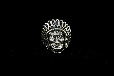 Chinese Rare Collectible Handwork Old Tibet Silver Indian Head Portrait Man Ring
