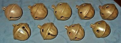Nice Lot  9  Large  Vintage Brass  Sleigh Horse Bells  No's 8  11  14  18