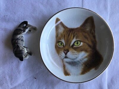 2 Vtg Crown Staffordshire Bone China Cat Plate & Figurine Dollhouse Cat Lot