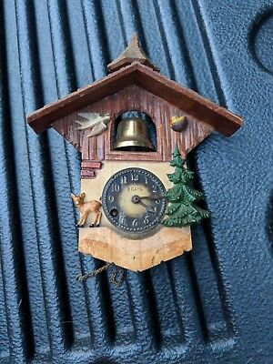 Antique Black Forest Cuckoo Pendulette Clock with bell