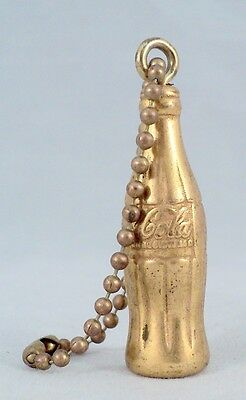 "Vintage Coca-Cola Bottle Miniature 1.75"" Goldtone on Key Chain - Estate Find"