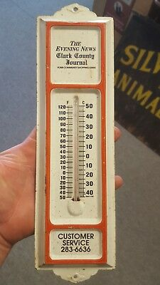 Vintage Evening News Clark County Journal Metal Thermometer Sign Clarksville IN