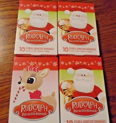 Rudolph/santa Adhesive Bandages Made In Usa (4Boxes 10 Each) Baby/kids