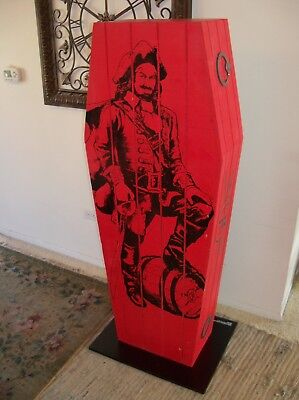 CAPTAIN MORGAN Wood DISPLAY Shelf Coffin BAR RARE Used Casket Man Cave Decor