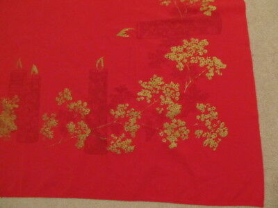 Vintage Christmas RED Tablecloth Images of Candles Gold Accents Rare 66X50 #210