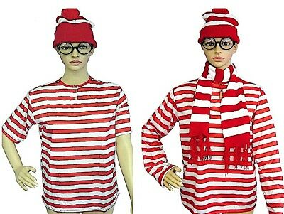 Wheres Wally Beanie Hat Scarf Glasses Adult Mens Ladies Full Costume