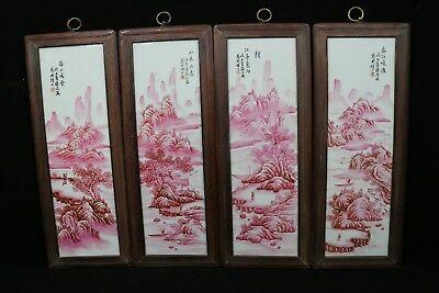 beautiful chinese agate red color porcelain a set Plaque